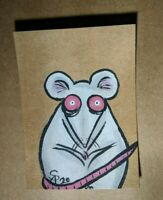 Original OOAK Painting ACEO ATC 2.5 x 3.5 Signed White Rat with Glitter