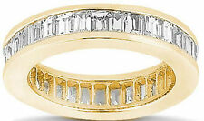 3.80 carat Baguette Diamond Ring 14k Yellow Gold Channel set Eternity Band F VS1