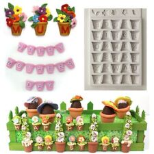 Alphabet Flower Pots Silicone Fondant Cake Decoration Chocolate Sugarcraft Mould