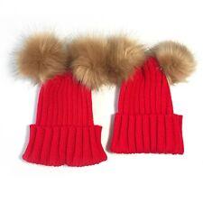 2PCS Mom+Child Kids Baby Warm Bobble Knit Hats Fur Pom Winter Crochet Ski Cap UK