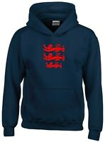 3 LIONS LARGE CREST ENGLAND CRICKET WORLD CUP 2019 HOODIE KIDS