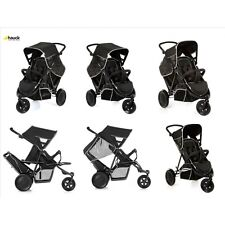 Hauck Black FreeRider tandem Double twin pushchair pram  3 wheeler + RAINCOVER