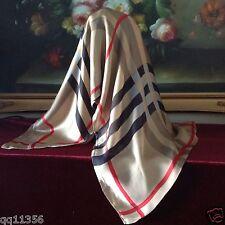"New Women silk oversized Nava Check Plaid long scarf shawl wrap 36""x70"" TAN"