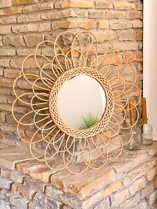dekorativer Bambus Spiegel Rund Ø 56 cm Boho Hygge Atmosphera