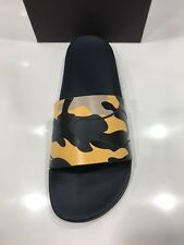 NIB Valentino Men's Navy and Yellow Camouflage Pool Slides Sandals Size 42