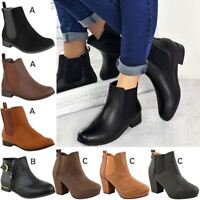 New Womens Ladies Ankle Low Block Heel Chelsea Dealer Shoes Boots Casual Size UK