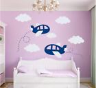 Blue Airplane Wall Sticker Cloud Airplane Cartoon Wall Art Decal Home Decoration