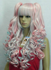 New Lolita New multi-colored long Curly Cosplay Wavy Wig With Two Ponytails