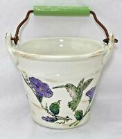 Midwest Ceramic Hummingbird Purple Floral Bailed Handle Bucket Pail Home Decor