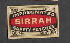 Ancienne   étiquette  Allumette  Belgique BN2252 Sirrah