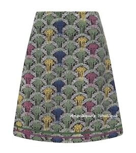 MISTRAL DECO FOREST ALICE GREEN/BROWN MULTI SOFT COTTON CORD SKIRT SIZE 8-12 NEW