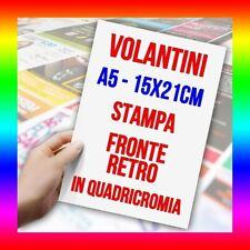 1000 VOLANTINI A5 ALTA QUALITA' 135 GR. STAMPA A COLORI FRONTE E RETRO