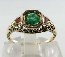 COMBO 9CT 9K GOLD EMERALD & INDIAN RUBY ART DECO INS FILIGREE RING FREE RESIZE