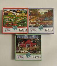 Lot of 3 Buffalo Games Charles Wysocki's 1000 Piece Jigsaw Puzzles