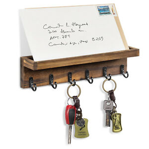 Rustic Wood Wall Mounted Entryway Floating Shelf with Mail Holder & 6 Key Hooks