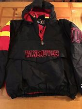 VANCOUVER CANUCKS Sz Large NHL STARTER Hooded Winter Pullover Vintage Jacket