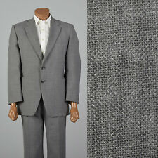 Xl 1970s 45R Grey Suit Two Button Jacket Pockets Vtg Matching Flat Front Pants