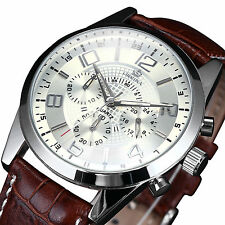 Orkina Luxury Mens 24 Hours Stopwatch Coffee Leather Army Sport Quartz Watch