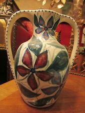 ancien vase faience saint uze signé alpho alphonse mouton art deco decor floral