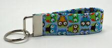 Mini Owls in Blue Animal Print Key Chain Ring Fob Handmade Custom Designer