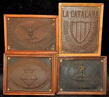 LOTE DE 4 CHAPAS PUBLICITARIAS.LA CATALANA, LA CONFIANCE, LA UNION ETC...