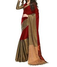 Ezone AK Red Indian Bollywood Designer Bhagalpuri Silk printed Saree