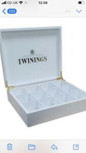 BNIB Twinings White Wooden Tea Display Box - Brass Hinges - WITHOUT Teas