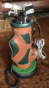 Vintage Golf Club Bag Novelty Phone w/Cords Desktop Mostly Works See Details