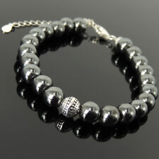 Mens Women Energy Bracelet 8mm Hematite 925 Sterling Silver Round Bead Link 1401
