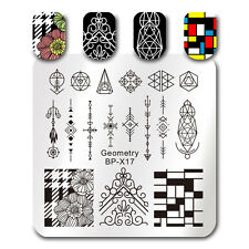 BORN PRETTY Nagel Stamping Platte Schablone Template Plates Geometrie BP-X17