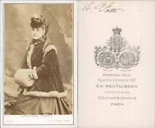Reutlinger, Paris, Adelina Patti CDV vintage albumen.Adela-Juana-Maria dite Ad