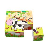 Children Wooden 9 Blocks Six Sides Building Blocks Dimensional 5D Puzzle Toy .
