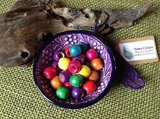 Dreadlock Beads 16x Small  Rainbow Mix 5-6mm Hole Wooden Painted Beads FREEPOST