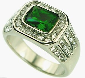 Emerald simulated 10.5 carat Mens 40 cz Ring 18k overlay size 10 TK495 T28