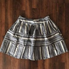 NEW Joa Los Angeles Full Puffy Skirt Striped Chambray Cotton Linen S Small