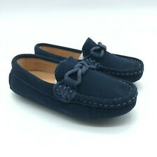 Shenn Toddler Boys Loafers Moccasins Slip On Faux Suede Navy Blue Size 7.5