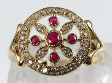 LUSH 9CT 9K GOLD ART DECO INS INDIAN RUBY & DIAMOND FLAMING SUN RING FREE RESIZE