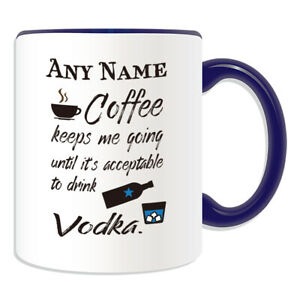 Personalised Gift Coffee Vodka Mug Cup Birthday Christmas Name Text Him Her Kid