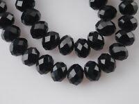 Wholesale 200pc 3x4mm Facets Rondelle Loose Spacer Crystal Glass Beads Black