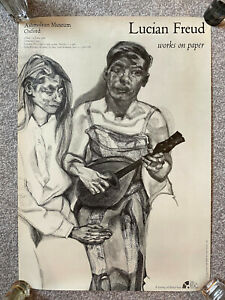 Vintage 1988 Lucian Freud - 'Works On Paper' art exhibition poster, Oxford