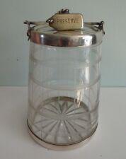 Antique Preserve Pot Jar Novelty Churn / Barrel Form glass & Silver plate c19th