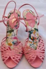 Delicious Womens Strappy Ankle Strap High Heel Dress Sandals Pink 8 1/2 M Patent