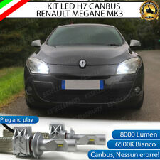 KIT LED H7 6500K CANBUS 8000 LM LUMEN RENAULT MEGANE 3 III NO AVARIA ABBAGLIANTI
