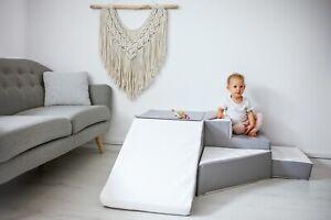 V Step & Slide White Grey Quality Soft Play Equipment Set Nursery Kids Toy Block