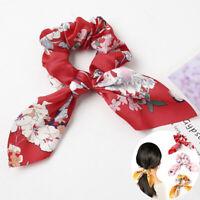 Hair Ropes Ring Ponytail Holder Scrunchie Print Elastic Silk Satin Bow Oriental