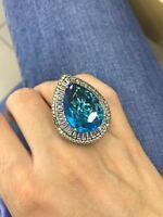 925 Sterling Silver Handmade Gemstone Turkish Aqua Marine Ladies Ring Size 6-10