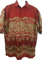 Men's Marc Ecko Short Sleeve Button Front Graphic Shirt Red & Gold Scorpions Lrg