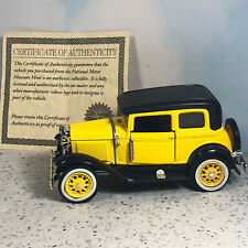 NATIONAL MOTOR MUSEUM MINT diecast model car 1930 Ford Crown Victoria yellow coa