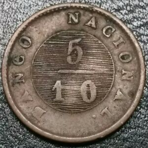 1828 Argentina Buenos Aires 5/10 Real Rare Soho Mint High Value Copper 24M Coin