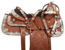 "16"" SHOW WESTERN LEATHER SILVER PARADE TRAIL HORSE SADDLE TACK SET RODEO PREMIUM"